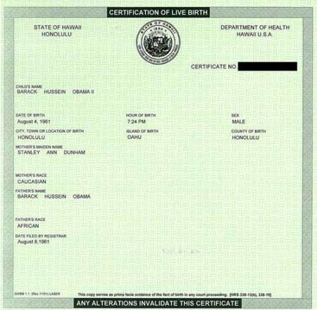 Birth certificate from a real actual U.S. state